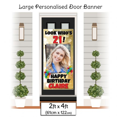 Personalised Happy Birthday Door PHOTO Banner Poster ~ Gold Sparkle N1